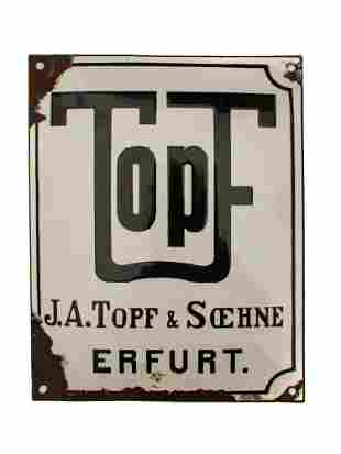 A GERMAN OFFICE SIGN FOR TOPF SHNE FACTORY
