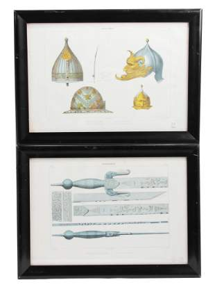 TWO COLOR LITHOGRAPHS WITH ISLAMIC ARMS