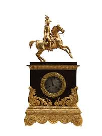 A GILT MANTLE CLOCK WITH RUSSIAN EMPEROR NICHOLAS I