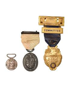 THREE ANTIQUE MEDALS & BADGES ONE BY TIFFANY