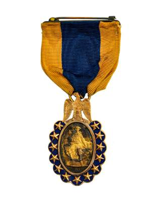 A SONS OF THE REVOLUTION GOLD MEDAL WITH RIBBON