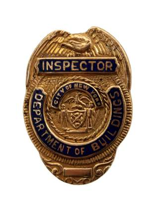 A 14K GOLD NEW YORK CITY DEPT. OF BUILDINGS BADGE