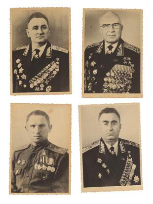 SET OF 4 PHOTOGRAPHS OF SOVIET ADMIRALS / MARSHALS