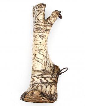Fine Scrimshaw German Camel Foot Powder Horn