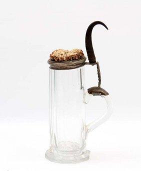 Nice German Glass And Stag Hunting Mug Beer Stein
