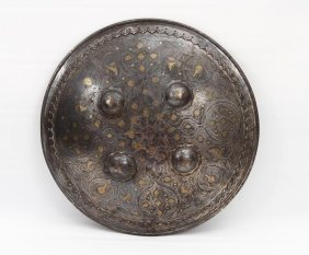 Indo-persian Steel Dhal Shield With Silver & Gold