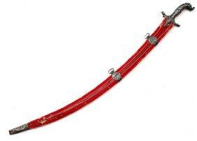 Rare Silver And Enamel Indian Shamshir Sword