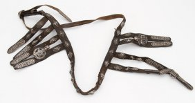 Caucasian Leather Sword Belt With Silver Mounts, 19th