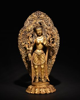 A Gilt-bronze Figure Of Bodhisattva