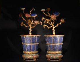 A Pair Of Gem-inlain Gilt Bronze Cloisonne Enamel