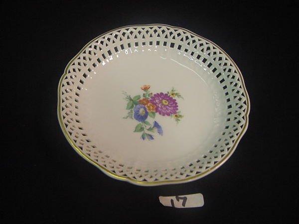 17: Lovely KPM pierced porcelain dish floral design