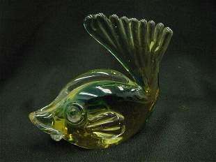 VENITIAN GLASS FISH PAPER WEIGHT BLUE YELLOW GREEN