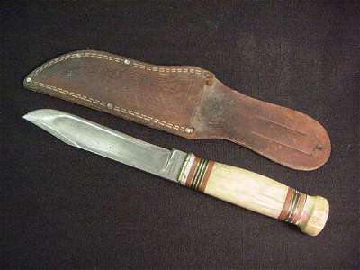 408: VINTAGE MARBLE KNIFE WITH SHEATH