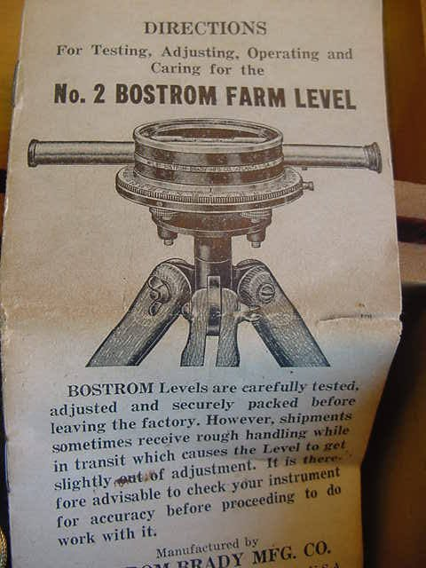 475: VINTAGE BOSTROM -  BRADY FARM SURVEYING INSTRUMENT - 2