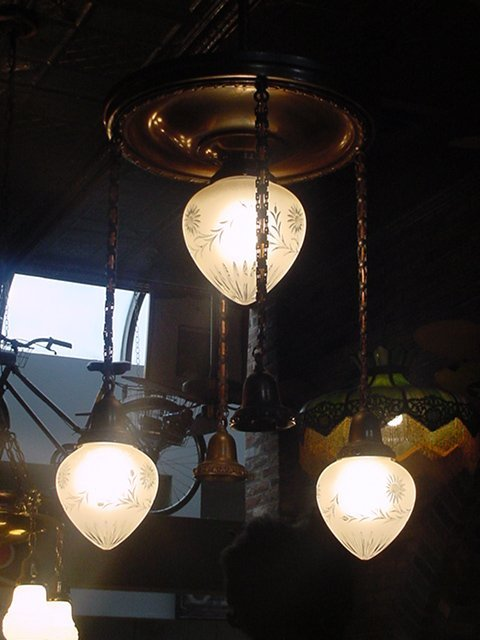 8: Victorian Hanging Light with Satin Shades