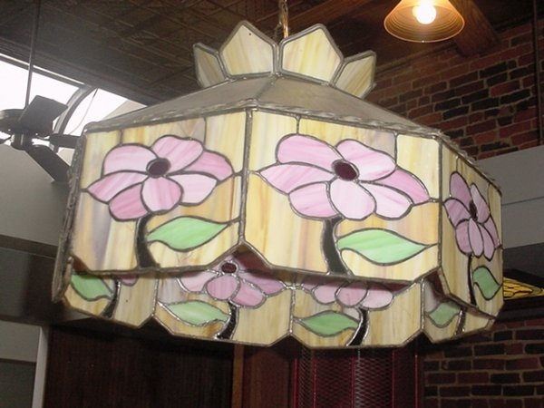 12: Stain Glass Hanging Light with Tulips