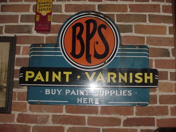 """95: Porcelain BPS Paint sign.""""Buy Paint Supplies Here"""""""
