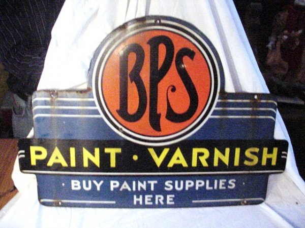 """95: Porcelain BPS Paint sign.""""Buy Paint Supplies Here"""" - 2"""