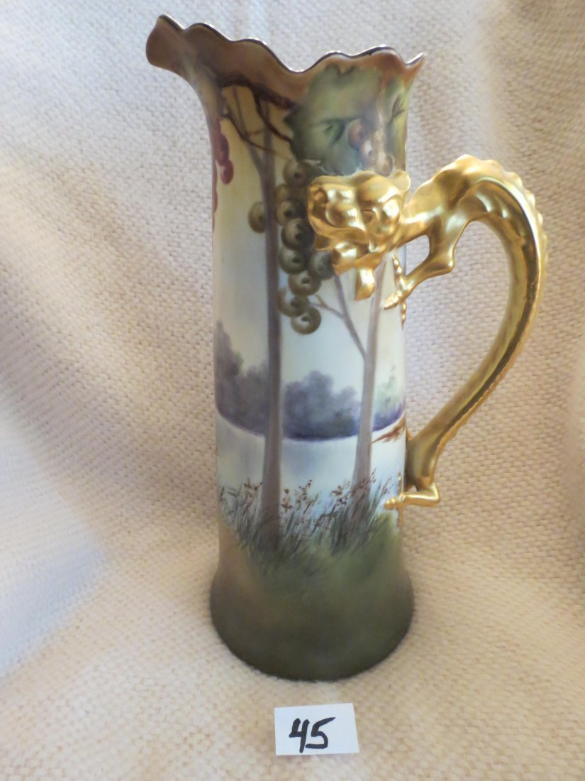 Tankard dragon handle w/ handpainted grapes and scenic - 2