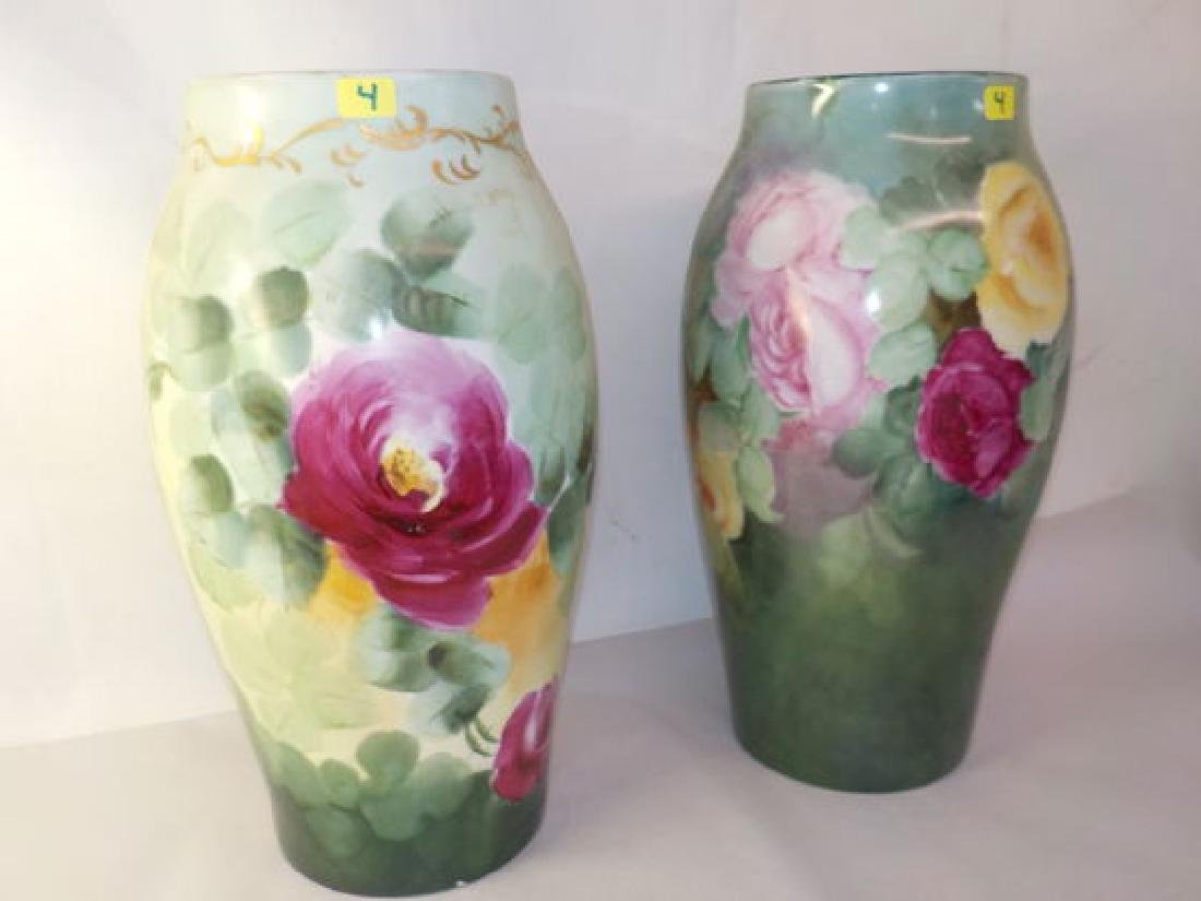 "2 piece lot ft. 2 Vases w/ handpainted roses 13"" H x 7"""