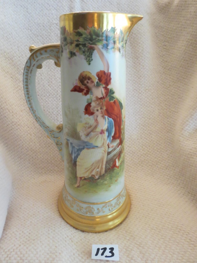 Tankard portrait w/ handpainted ladies seated in garden