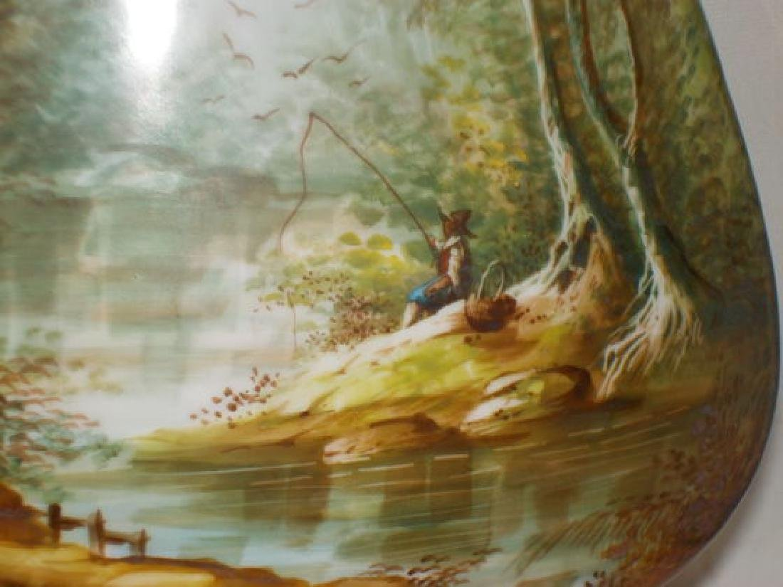 Scenic footed vase depicting a young boy fishing on - 2