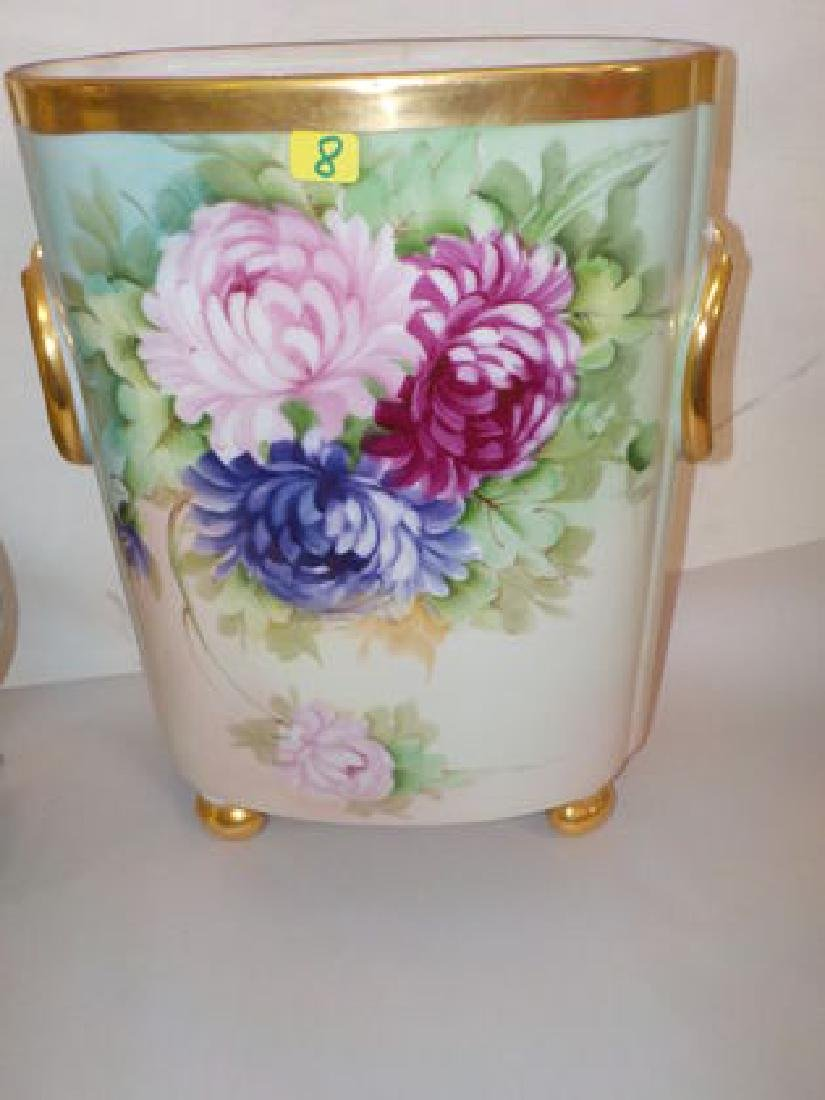"Cachepot with handpainted roses w/ gold bun feet  12"" H"