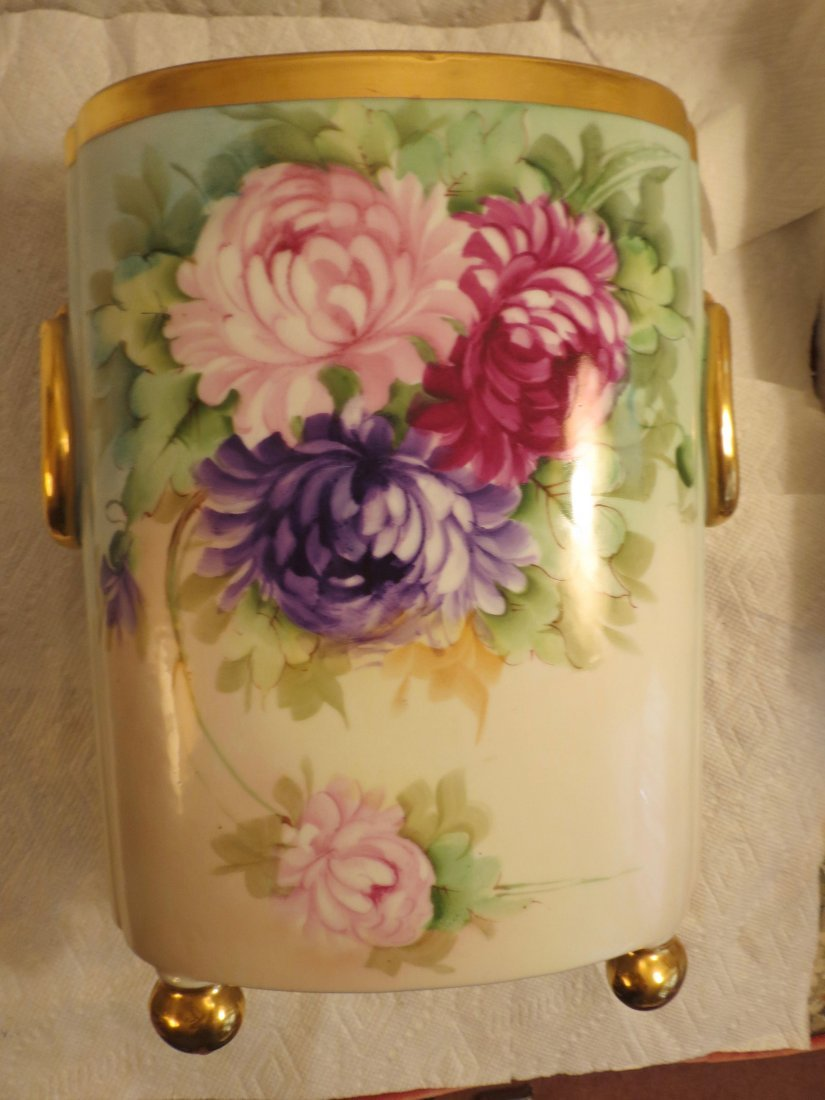 "Cachepot with handpainted roses w/ gold bun feet  12"" H - 2"