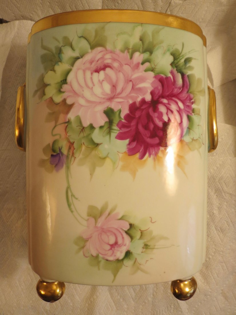 "Cachepot with handpainted roses w/ gold bun feet  12"" H - 3"