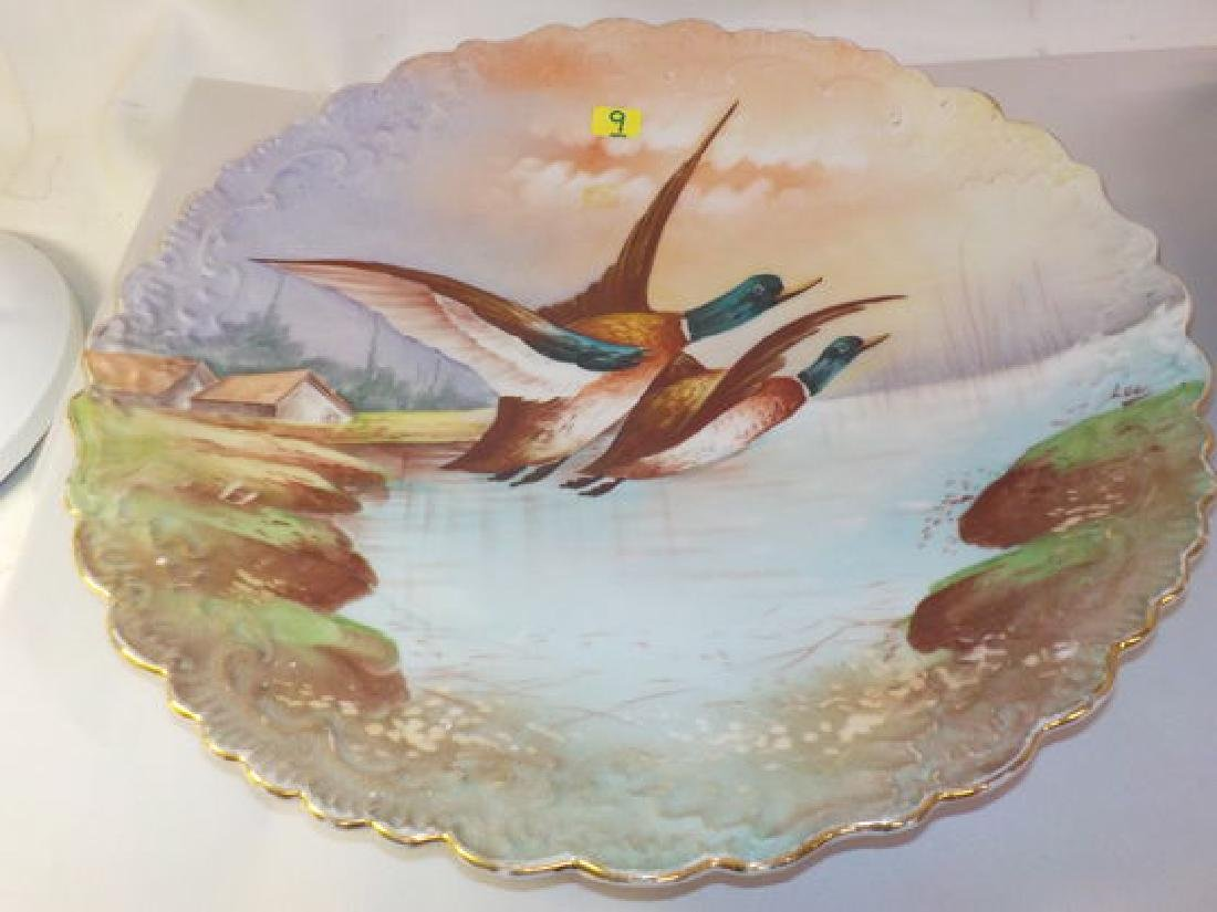 "Large Game Plate 2 Mallard ducks in flight 13.5"" D Made"