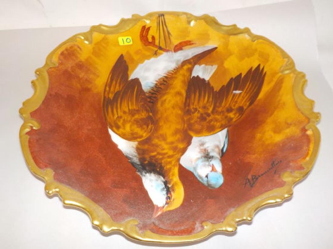 """Game plate 13"""" D Made by: Coronet Signed: A."""