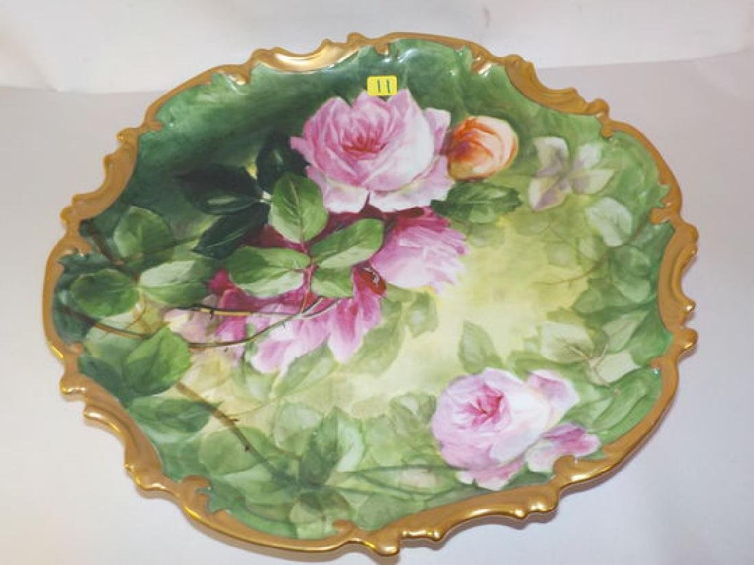 "Dec. Hanging Plate w/ handpainted roses 13"" W Made by:"