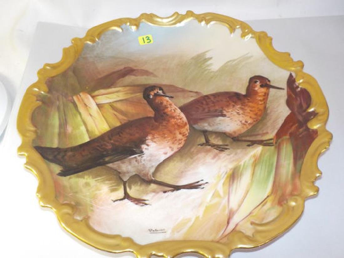 Game Plate w/ 2 birds- scalloped edge Made by: LRL