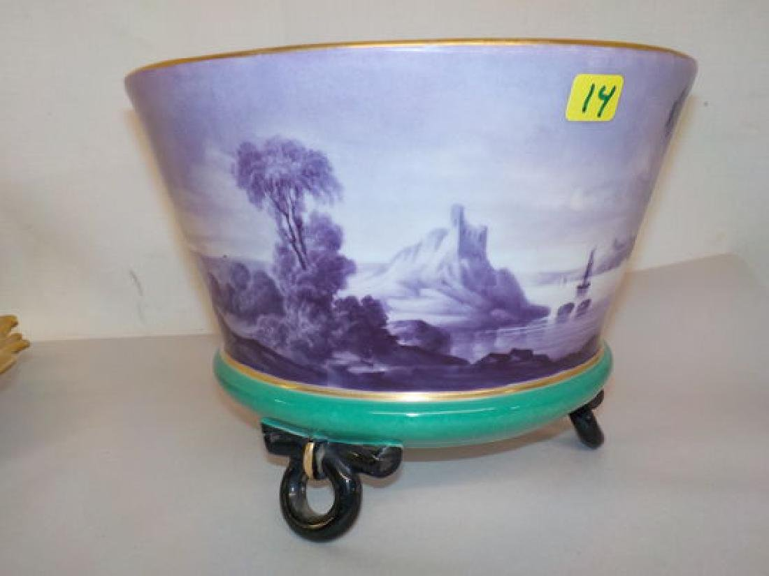Impressive footed bowl w/ scenic lake with sailboat and