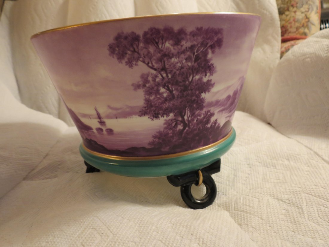 Impressive footed bowl w/ scenic lake with sailboat and - 2