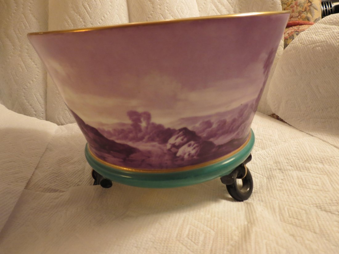 Impressive footed bowl w/ scenic lake with sailboat and - 3