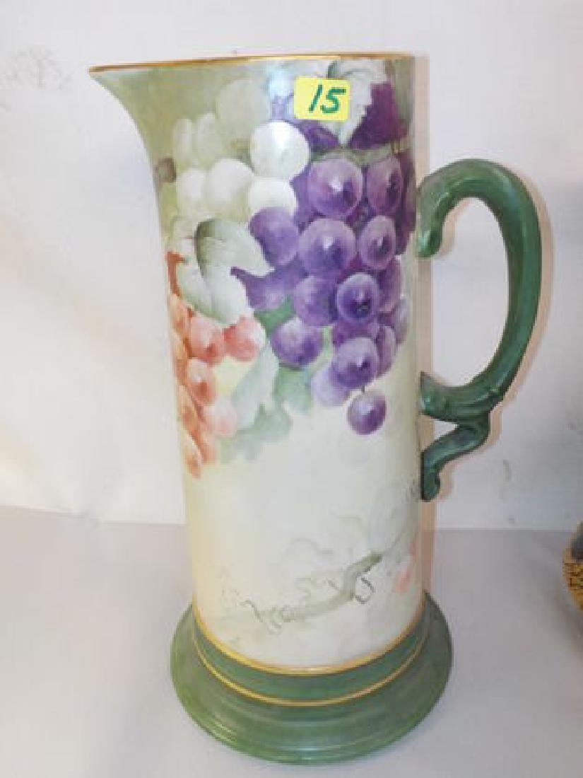 "Tankard w/ handpainted grapes  12"" H Made by: JPL"