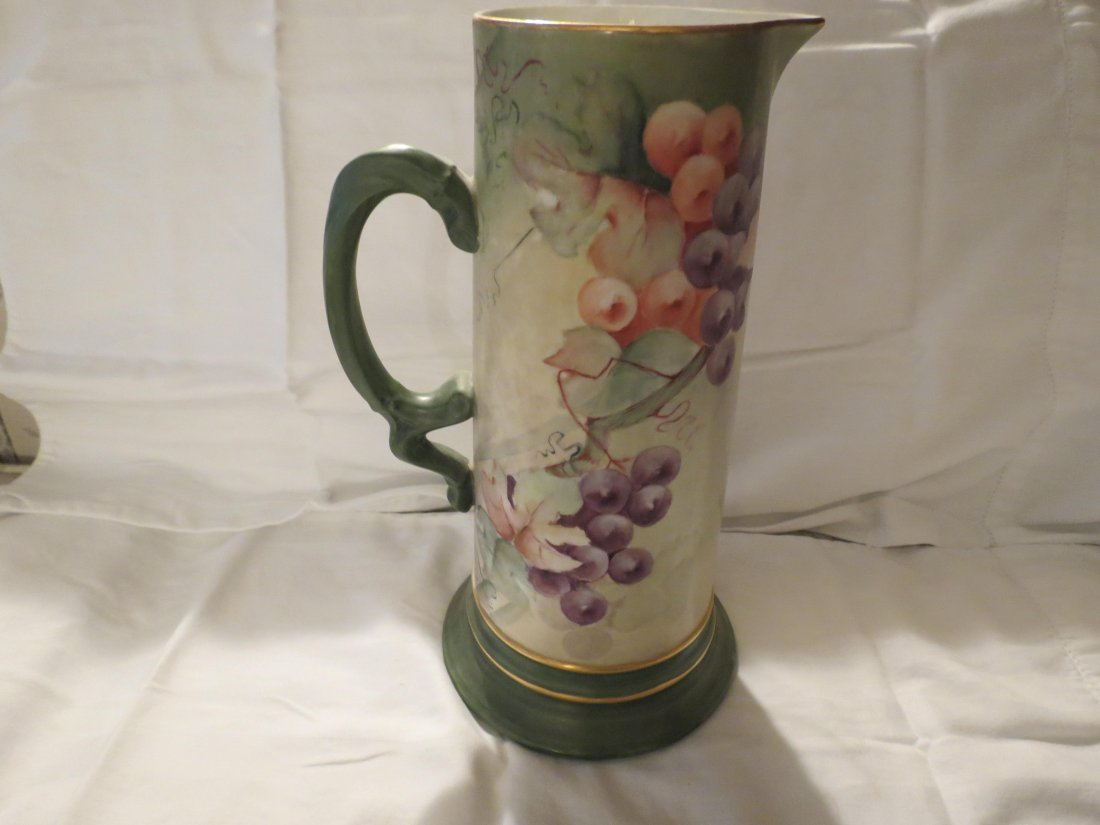 "Tankard w/ handpainted grapes  12"" H Made by: JPL - 2"