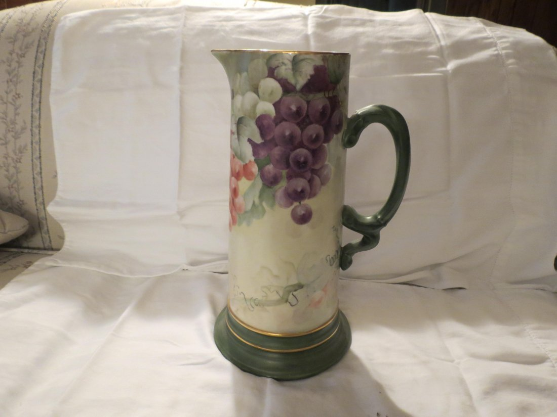 "Tankard w/ handpainted grapes  12"" H Made by: JPL - 3"