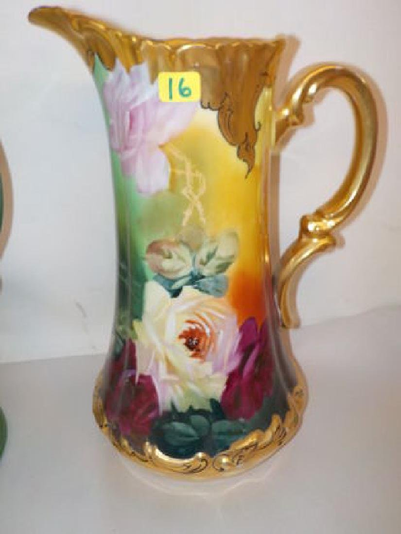 "Tankard w/ handpainted roses 11"" H Made by: T & V"