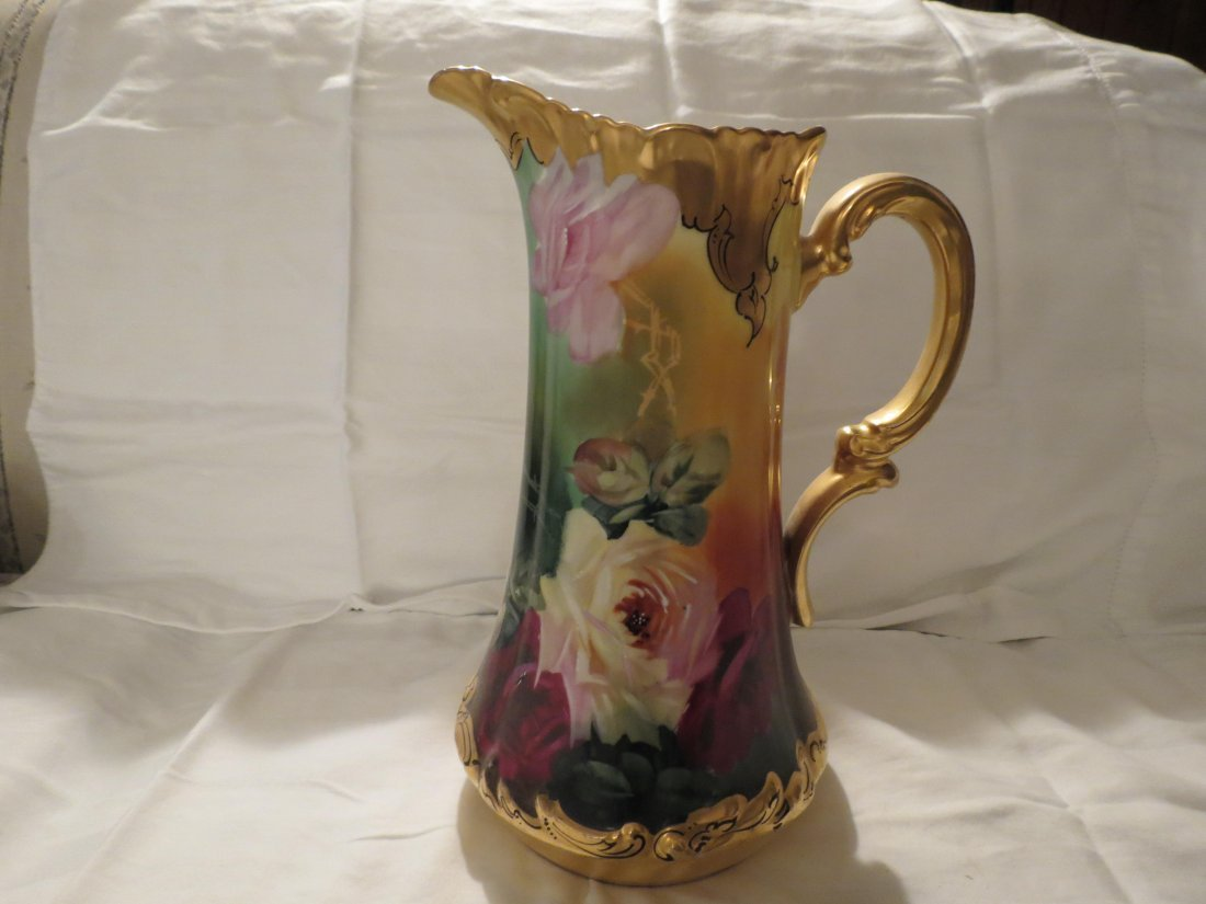 """Tankard w/ handpainted roses 11"""" H Made by: T & V - 2"""