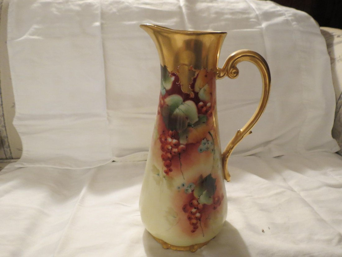 """Pitcher- handpainted ripened grapes  10.5"""" H Made by: T - 2"""