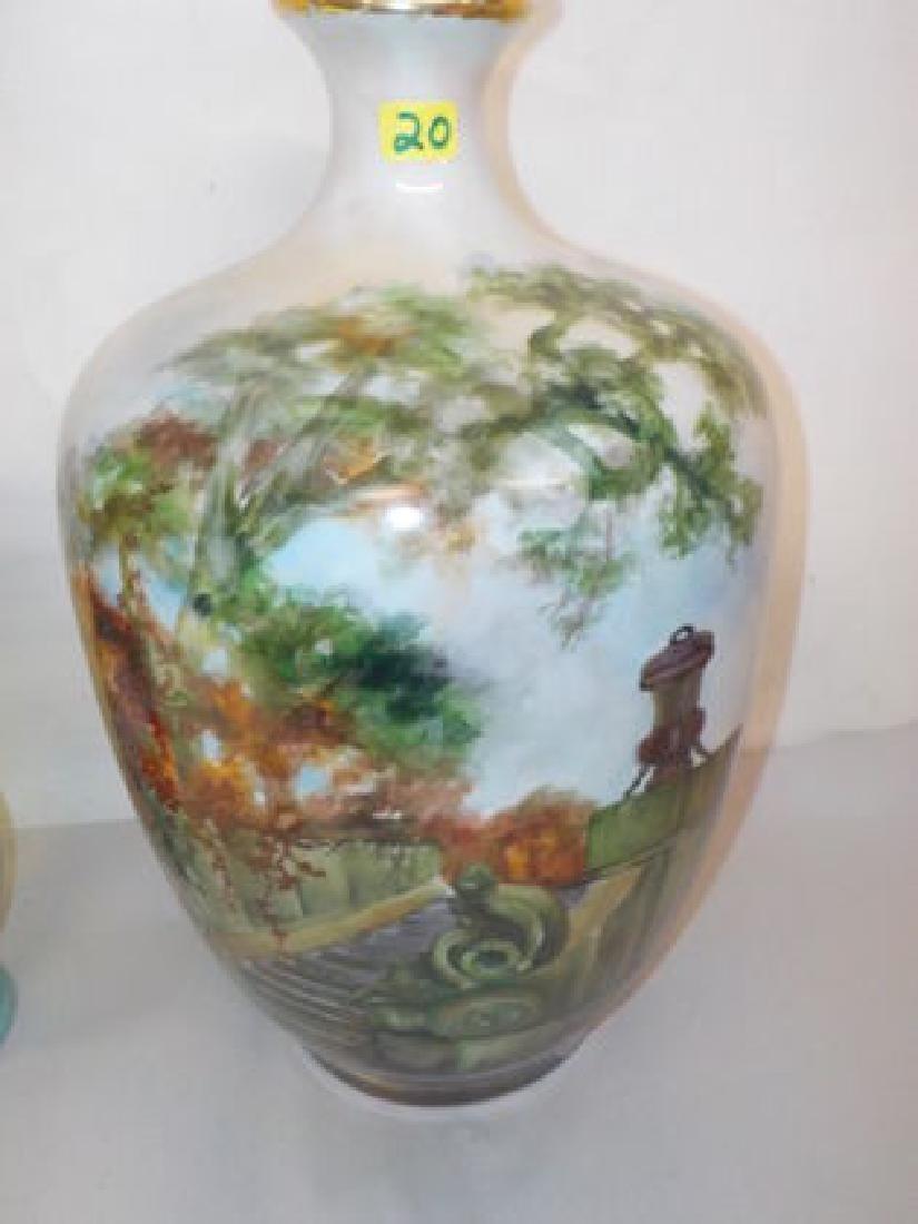 Impressive bulbous vase with handpainted garden scene