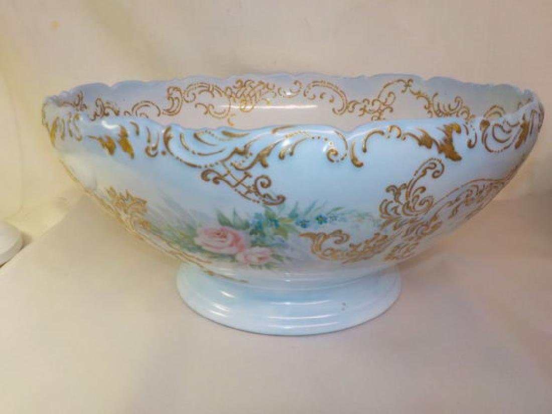 footed Punch Bowl w/ gold raised accent & pink roses