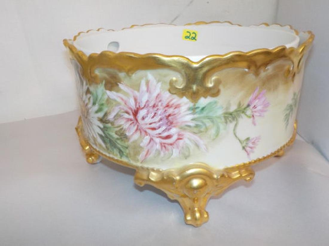 round footed server w/ porcelain insert w/ gold décor