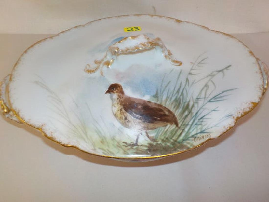 "Covered Casserole w/ handpainted birds 12"" W Made by:"