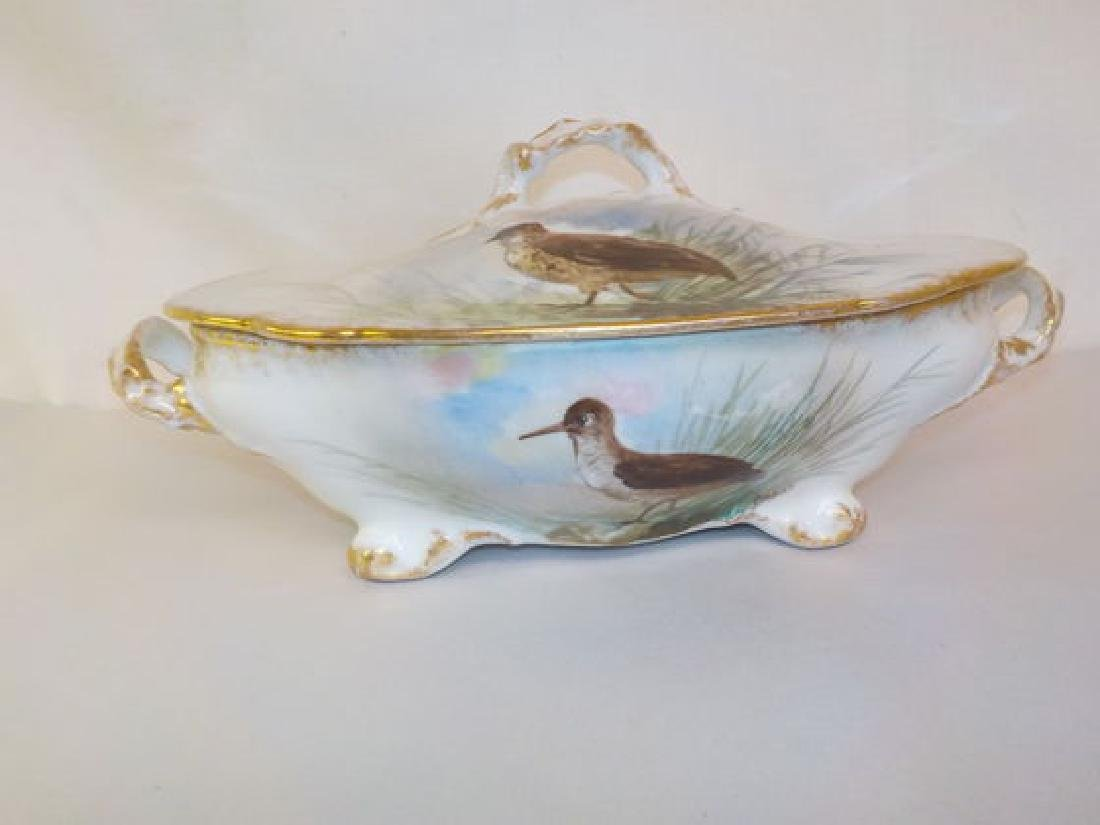 "Covered Casserole w/ handpainted birds 12"" W Made by: - 2"