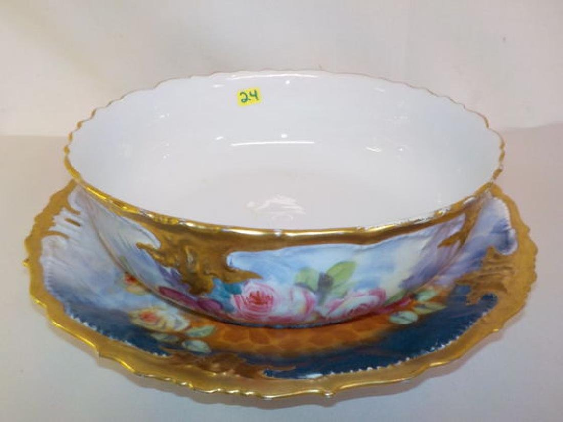Bowl w/ underplate #179 (12.3) with gold drim and