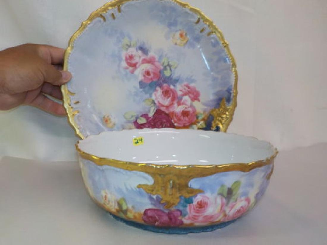 Bowl w/ underplate #179 (12.3) with gold drim and - 2