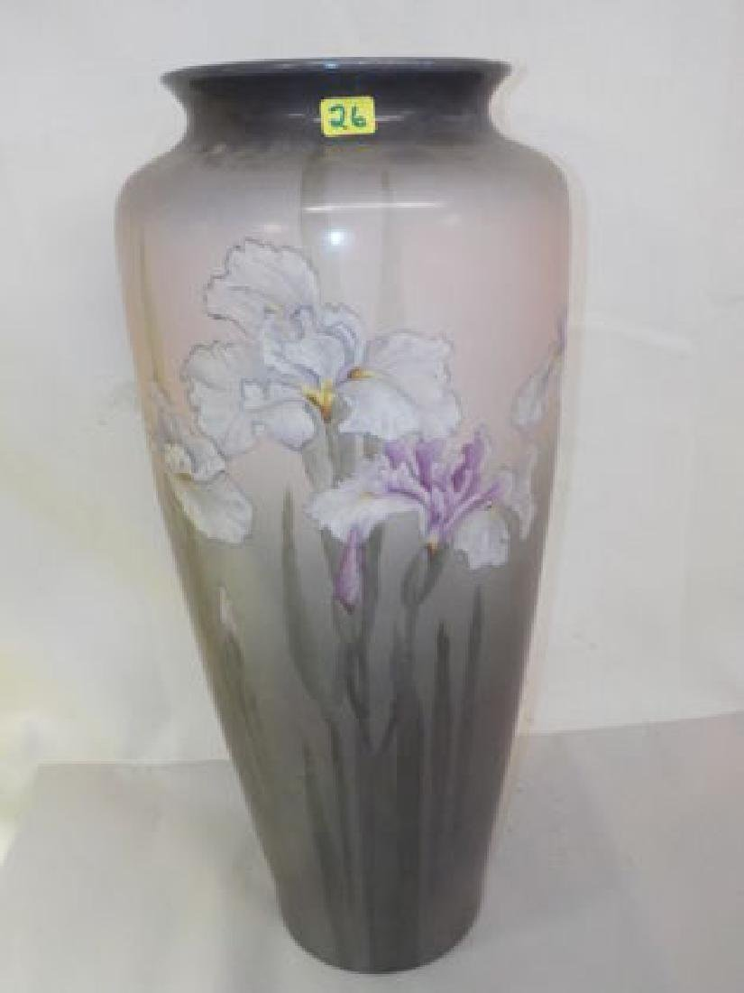 "Monumental Vase w/ handpainted Lilies 18"" H x 8"" W Made"